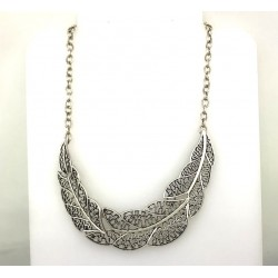 Oxidized Silver Leaf Necklace