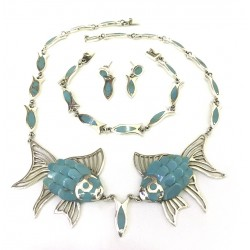 Silver & Turquoise Fish Set