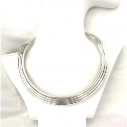 Wide Silver Choker Necklace