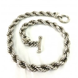 Thick Silver Rope Necklace