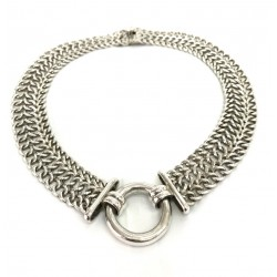 Flat Braided and Ring Necklace