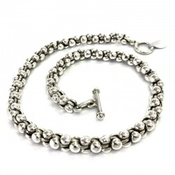 Twisted Round Link Silver...