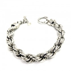 Thick Silver Rope Bracelet